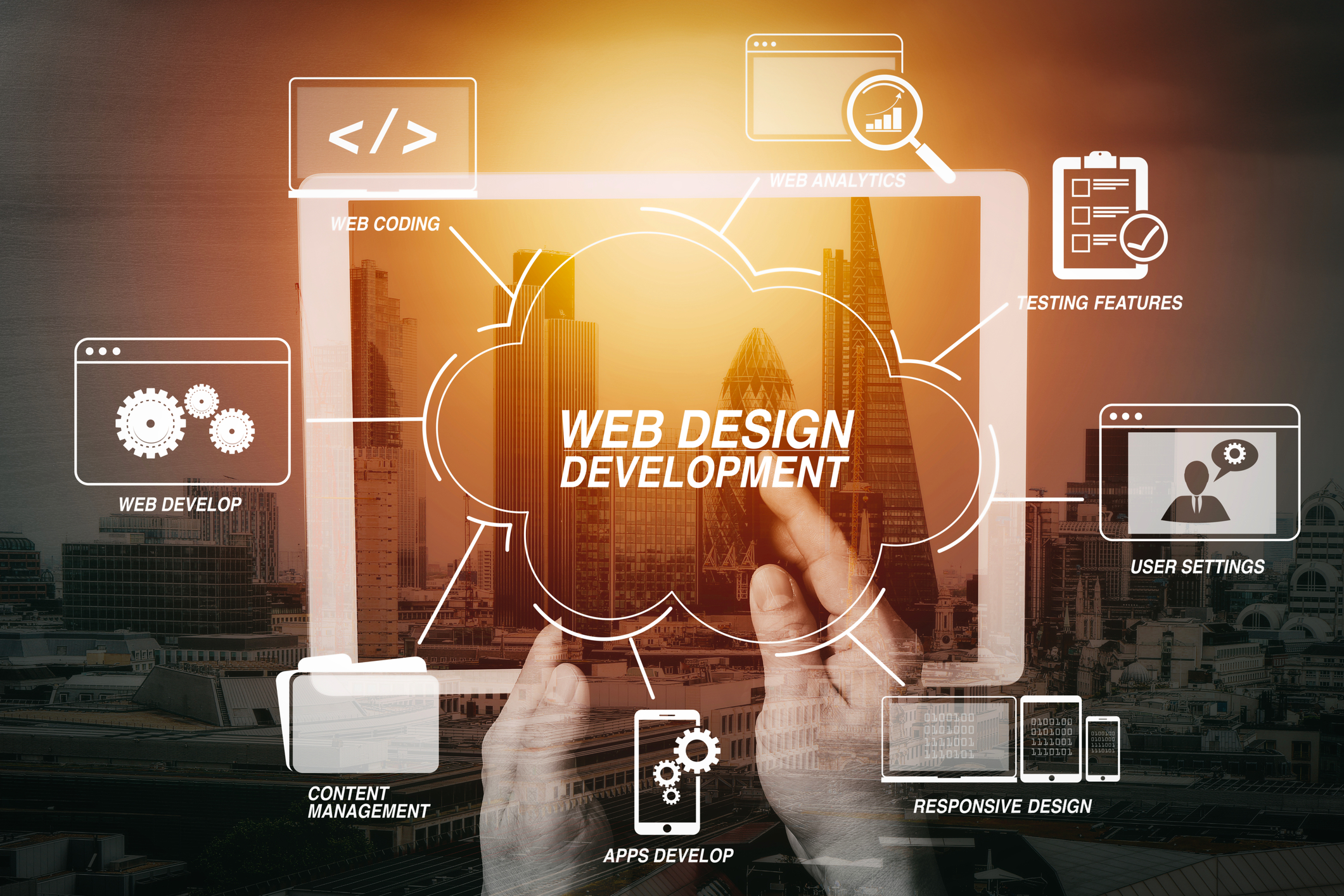 Developing programming and coding technologies with Website design in virtual diagram.cyber security internet and networking concept.Businessman hand working on mobile phone and digital tablet computer with building exposure