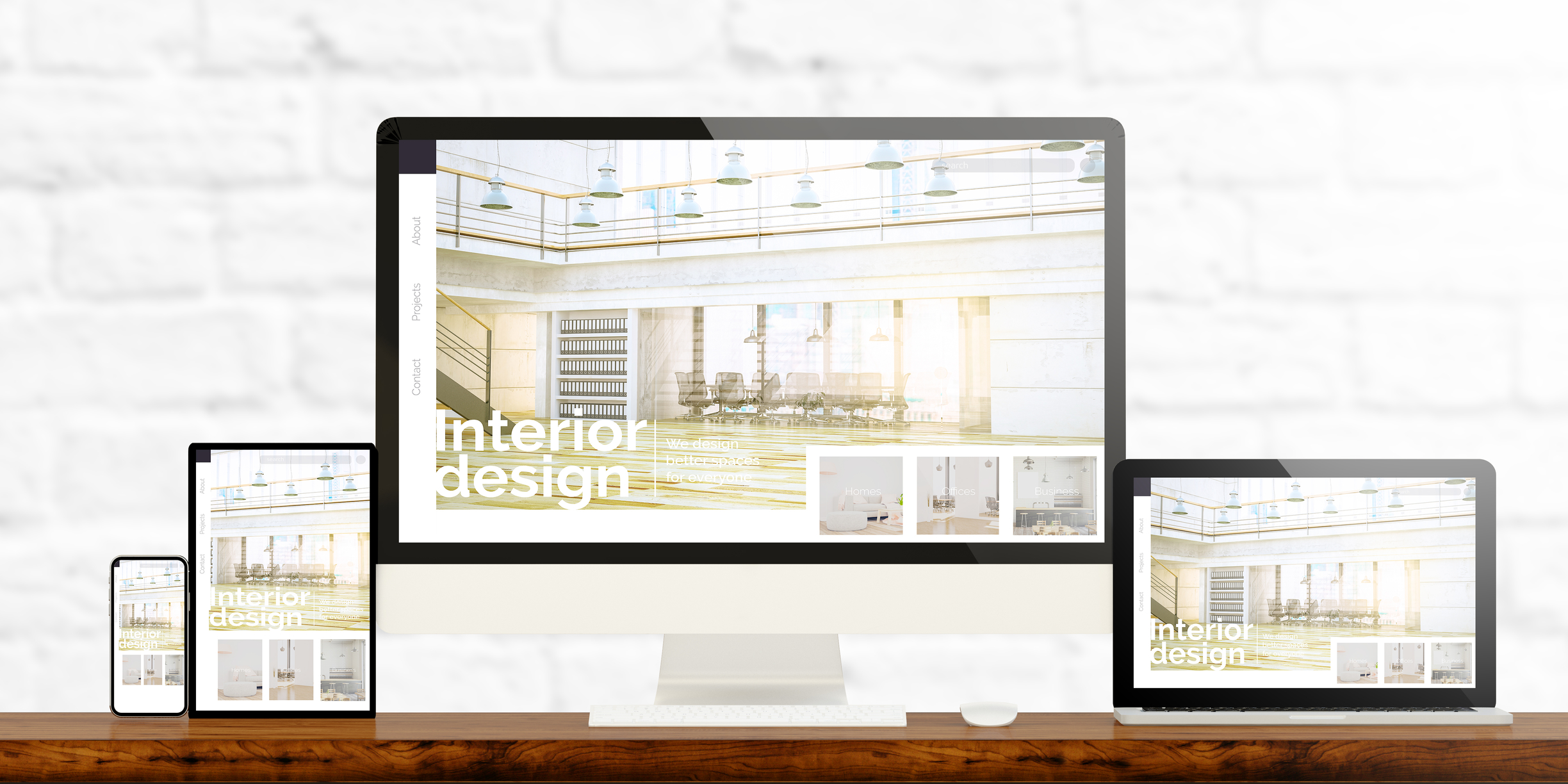 responsive devices showing interior design website 3d rendering